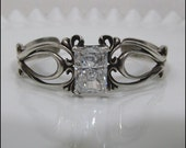 Gorgeous Vintage Signed KABANA STERLING Ornate Cuff Bracelet 26 Grams With Brilliant Stone