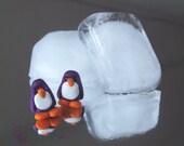 Penguin Earrings, Purple Penguin Stud/Post Earrings, Polymer Clay