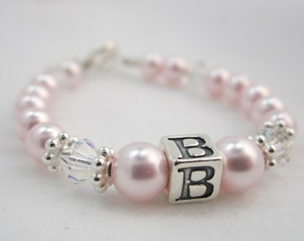Pink Pearls With Clear Swarovski Crystals and Sterling Silver Daisy Spacers and Sterling Silver Box Inital Bracelet (BPI)