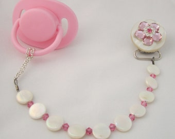Pink Flower Pacifier clip with Stunning Mother of Pearls (CMPP)