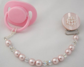 Pink Lacy Pacifier clip with Stunning Pearls and crystals (CLP)