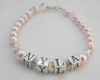 Baby Girl Gift Name Bracelet Sterling silver first birthday personalized pearls infant jewelry children ( Bpnp)