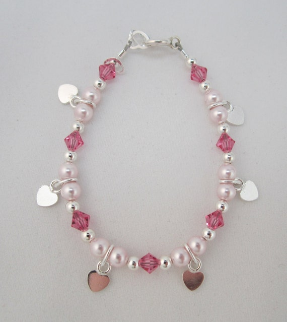 Baby Bracelet Pink Pearls and Pink  Crystals with hanging flat hearts (BSH)