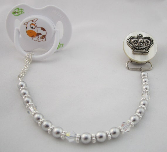 Silver Crown Pacifier clip with Silver Pearls and Crystals (CCS)