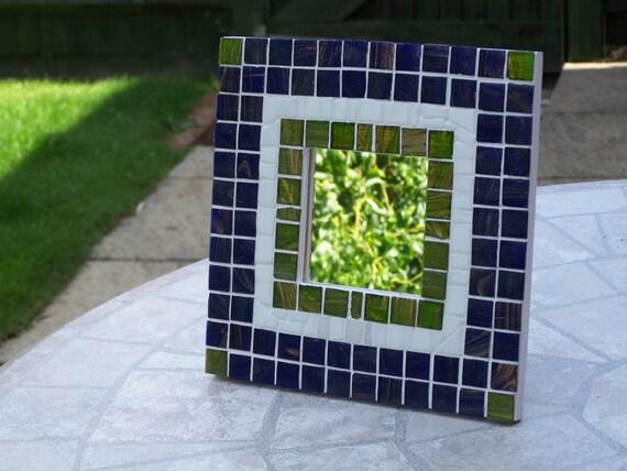Blue Mosaic Wall Mirror - Blue/Green/White Glass Mosaic Mirror