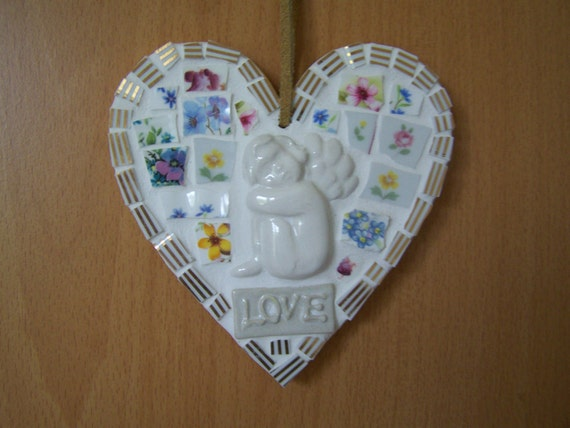 Broken China Cherub Mosaic - Floral Love Heart