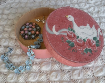 """Round Wooden Jewelry Storage """"Cheese"""" Box Hand Painted With Roses and Swan"""