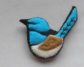 Blue Wren - Wool felt Brooch