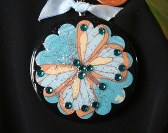 Beautiful butterfly on metal washer pendant with rhinestones