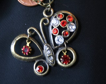 WHIMSICAL butterfly pendant necklace with rhinestone accents