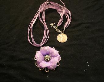 Purple silk flower pendant