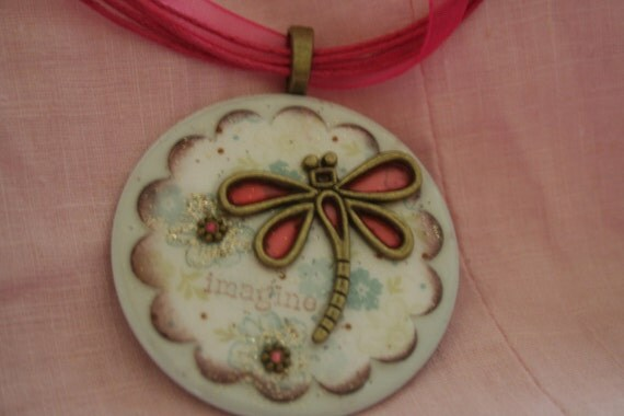Darling washer necklace with dragonfly