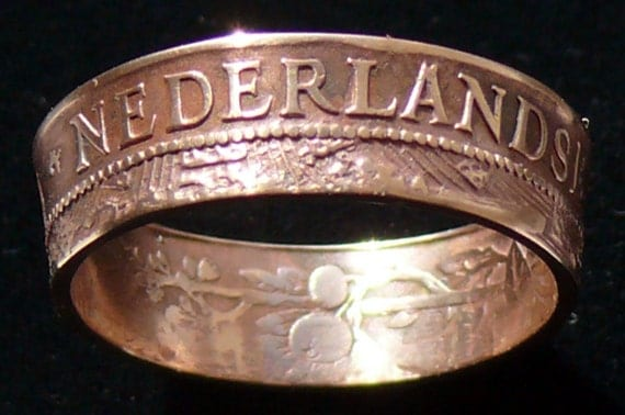 Bronze Coin Ring 1965 Netherlands Antilles 2 1/2 Cents - Ring Size 6 1/2 and Double Sided