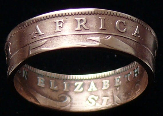 Bronze Coin Ring 1956 East Africa 5 Cents-  Size 9 1/4 and Double Sided