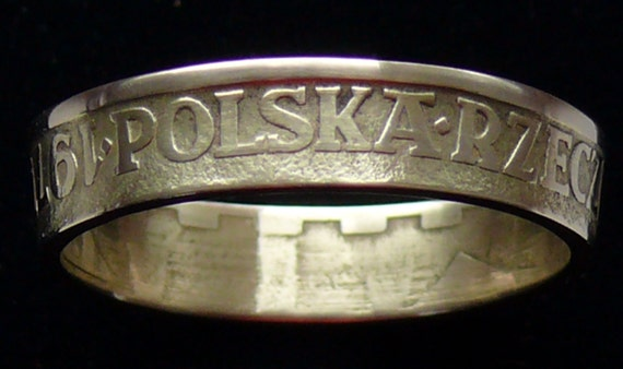 Brass Coin Ring 1977 Poland 5 Zlotych - RIng Size 9 1/4  and Double Sided
