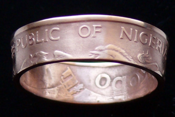 Bronze Coin Ring 1973 Nigeria 1 Kobo - Ring Size 8 1/2 and Double Sided