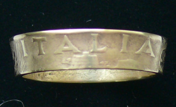 Bronze Coin Ring 1940 Italy 10 Centesimi - RIng Size 8 1/4 and Double Sided