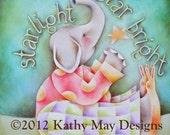 "Nursery art , Kids wall art, Baby girl, Baby boy, Elephant art, Wish print, Starlight star bright, Baby elephant, 8""x 8"" Print"