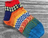 Hand Knit Unique Short Socks, Ankle Socks, Boho Socks, Men Women Socks, Teen Sox, Bohemian Socks, Hipster Socks, MADE TO ORDER - 45