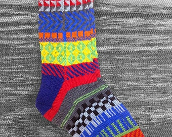 Socks, Hand Knit Wool Multi Color Socks, Unique Men Socks, Women Socks, Teen Sox, Boho Socks, Hipster Socks, Bohemian Socks, MADE TO ORDER e