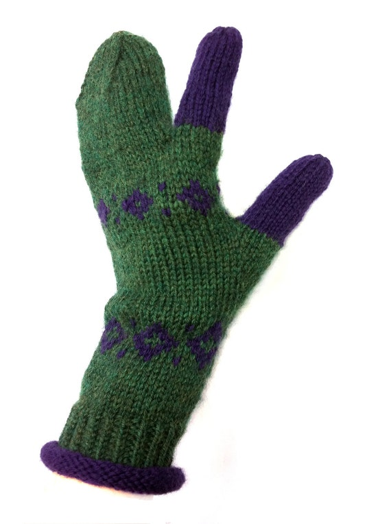 Hand Knit Mittens Women, Men, Three Finger Mittens, Gloves, Original Icelandic Design, Handknit Wearable Art   FREE US SHIPPING