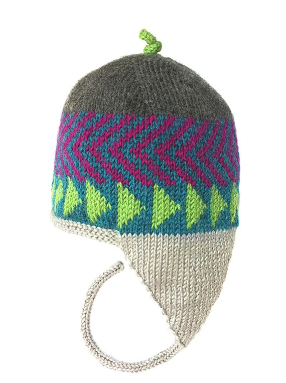 Hand Knit Earflap Hat, Holiday Gift, Women, Men, Teen Beanie, Earflap Hat, Original Icelandic Design, Hand Knit Beanie