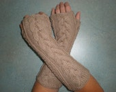 Hand-knitted sand color women fingerless gloves/wrist warmers with cables
