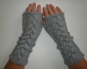 Hand-knitted light grey color women fingerless gloves/wrist warmers with cables