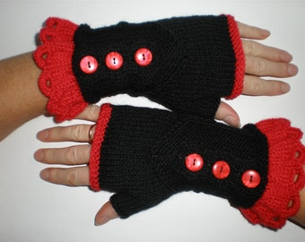 Hand-knitted black with red accent women fingerless gloves/wrist warmers