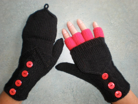 Hand-knitted black color women convertible fingerless gloves/wrist warmers to mittens with buttons