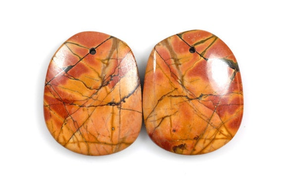 Drilled, matching Picasso Jasper cabochons (Set of 2)