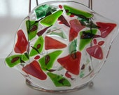 Fused Glass Dish- Coppery Leaf- Autumn Colors-Candleholder- Soap Dish- Leaf Shape