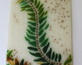 Art Tile- Undulating Fern- Wall Tile- Backsplash-  Fused Glass- Kitchen- Bath- Green, Brown, Ecru- Woodsy