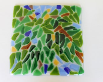 Wall Tile- Lush Foliage- Art Tile- Arts and Crafts Style- Backsplash- Mission- Green, Brown, Blue- Kitchen- Bath