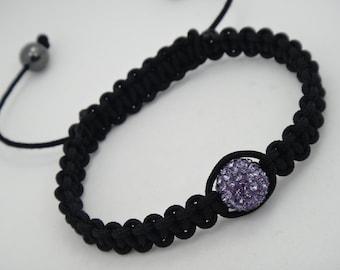 Sale 50% off Macrame Bracelet With Swarovski Crystals and Hematite Stones In Tanzanite