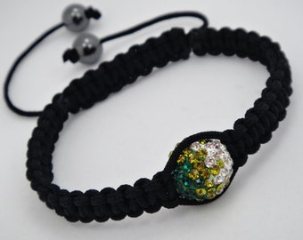 Sale 50% off Macrame Bracelet With Swarovski Crystals and Hematite Stones In Emerald,Olivine,Clear