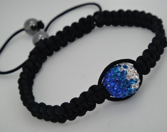 Sale 50% off Macrame Bracelet With Swarovski Crystals and Hematite Stones In Sapphire,Caribbean Blue Opal,Clear