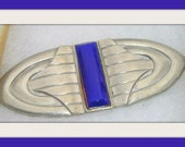 art deco Ben Amun signed and authenticated   brooch high polished silver pewter and  cobalt glass