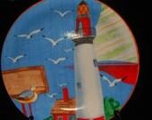 Sale light house decor hand  painted Cape Cod lighthouse  plate ceramic plate beach cottage decor