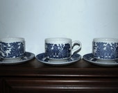 Blue Willow cups and saucers Churchill England