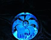Aqua   crystal paperweight art glass blown glass vintage glass