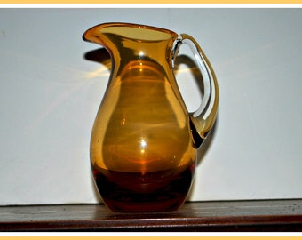 vintage blown glass  amber color small pitcher