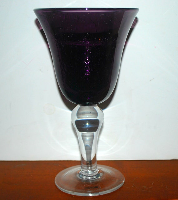 vintage 2 amethyst glass goblets  blown glass  bubble glass  purple glass