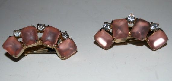 vintage earrings  pink  glass and rhinestone clip on earrings
