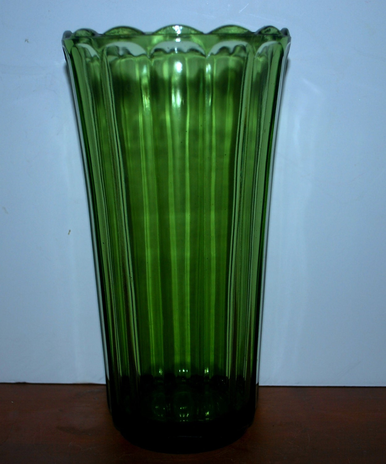 Snow Sale Emerald Green Depression Glass Tall Green Fluted