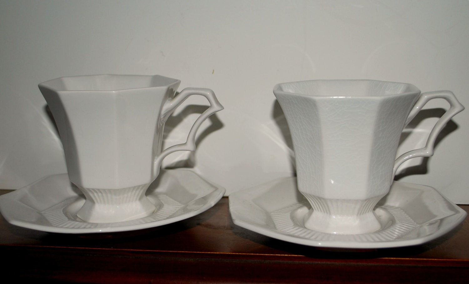 White Ironstone Independence Cups And Saucers