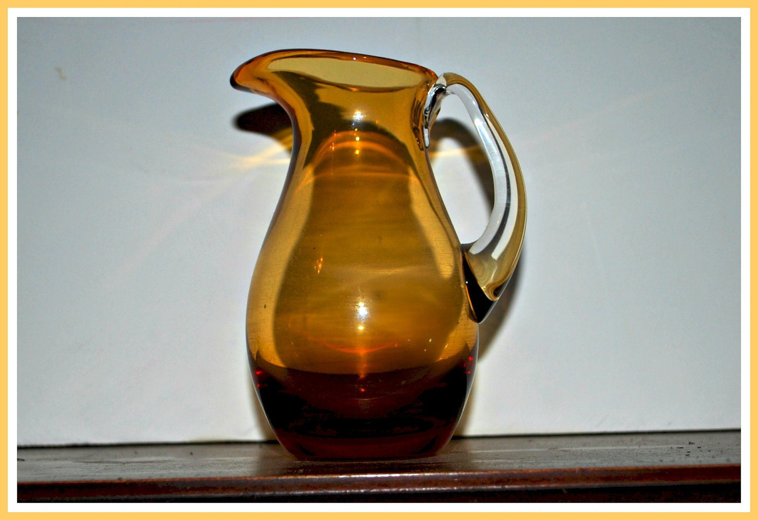Vintage Blown Glass Amber Color Small Pitcher By Capecodgypsy