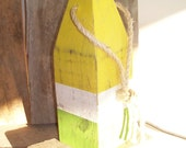 Yellow, White, and Green Buoy- Nautical- Distressed