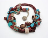 Brown turquoise knit necklace with bamboo beads OOAK