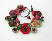 Handmade crochet necklace with bamboo and textile beads, red green, OOAK
